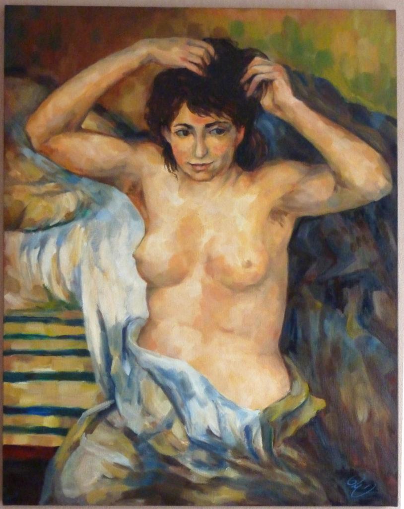 """Copie interprétée du tableau """"Buste de femme"""" peint vers 1873-1875 par Renoir"""