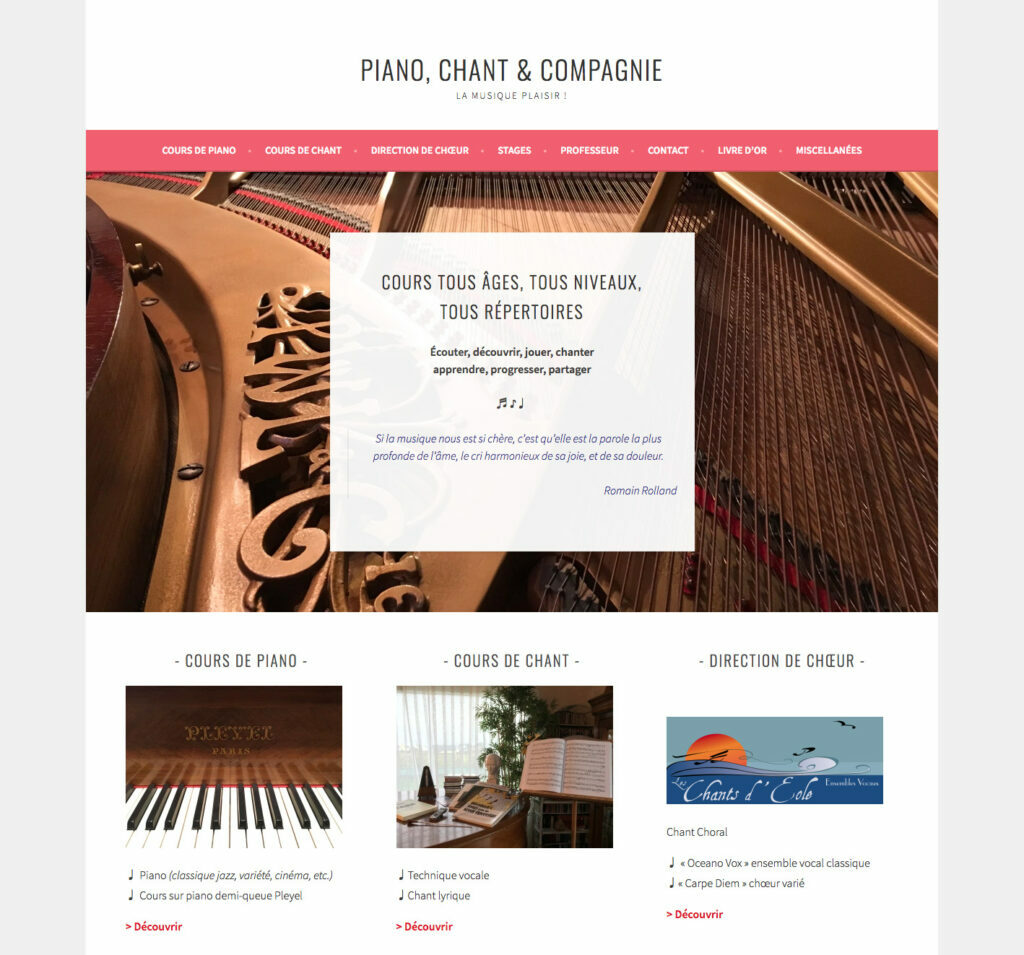 Webdesign : piano chant & compagnie-detail