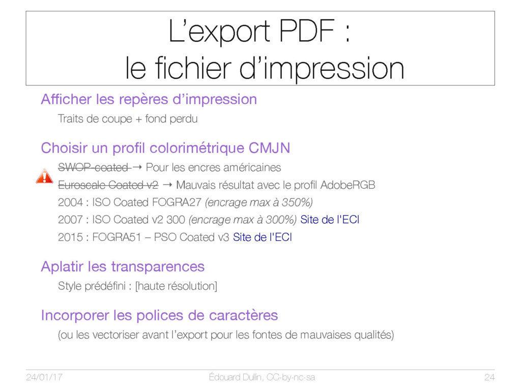 L'export PDF : le fichier d'impression
