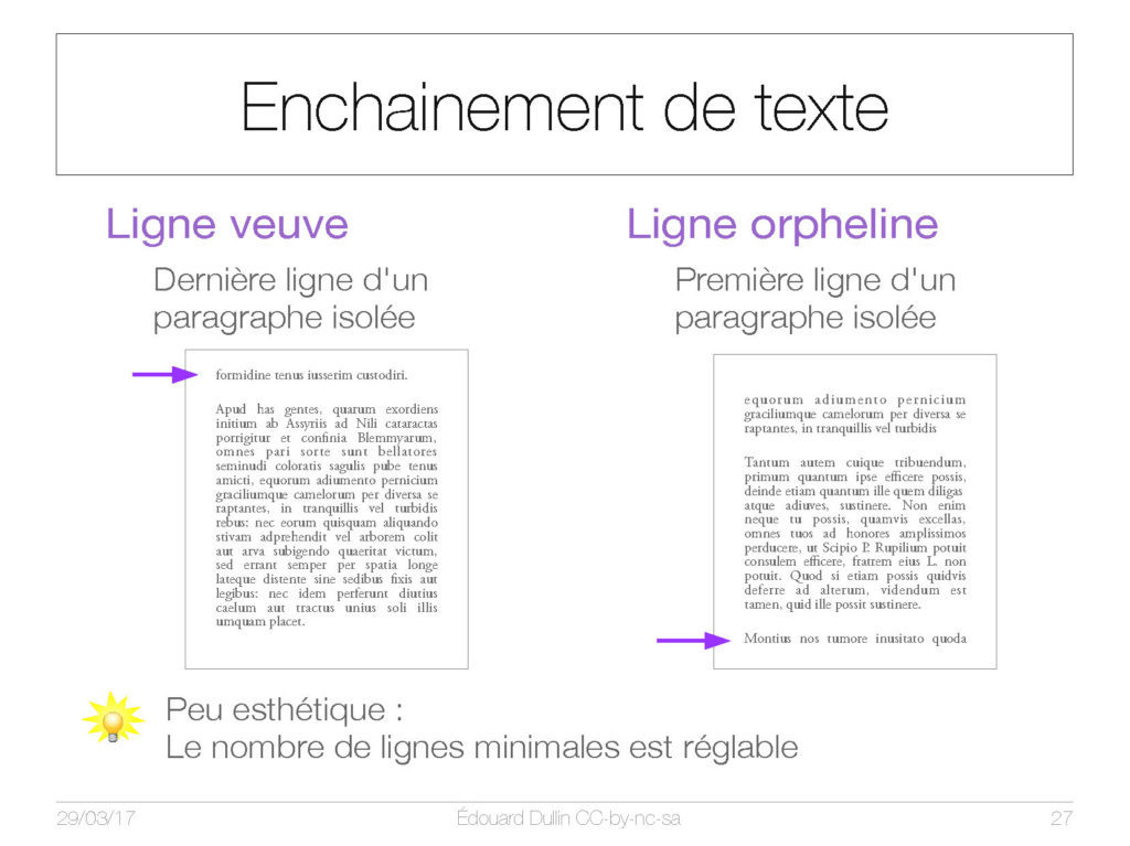 Enchainement de texte