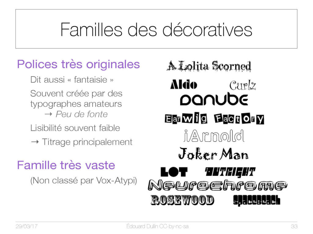 Famille des décoratives