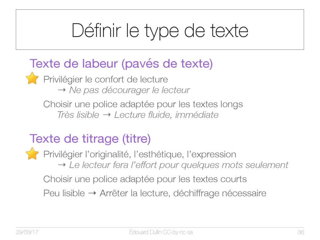 Définir le type de texte