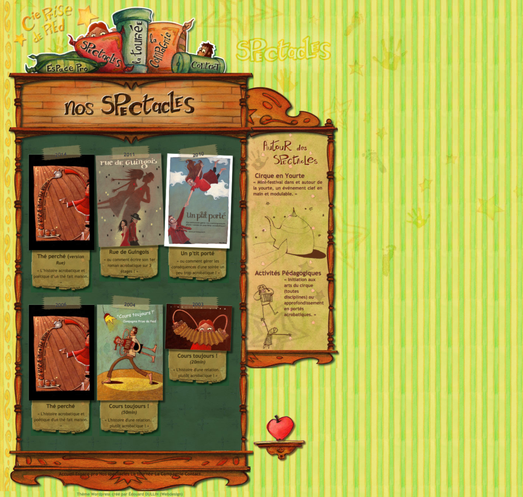 Page spectacles — Theme wordpress original prise-de-pied