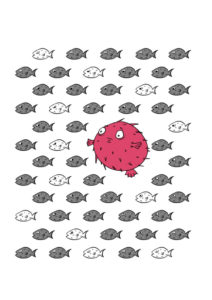 Motif poisson globe