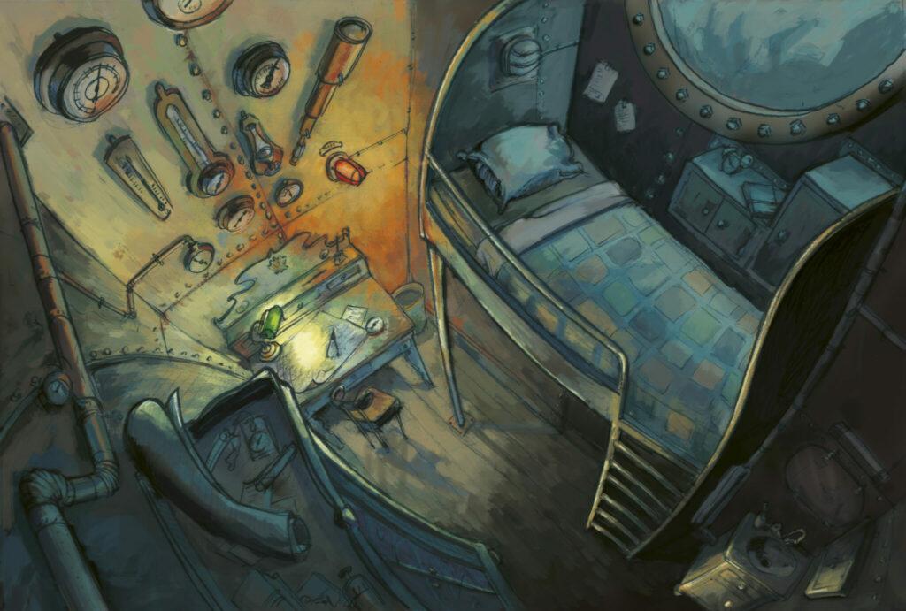 La chambre du Nauthilus (crayon et mise en couleur numérique)